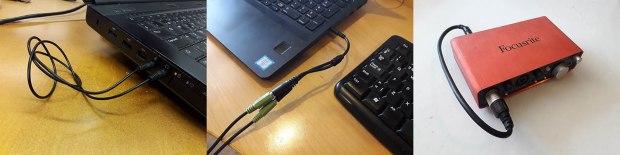Miniplugi- ja TRRS-kaapelit, ulkoinen äänikortti